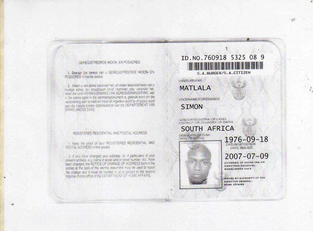 simon matlala ID